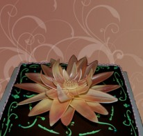 beautiful-lily-topped-chocolate-birthday-cake